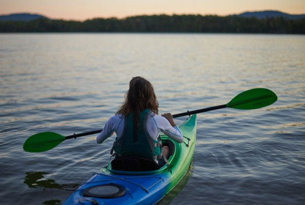 L.L.Bean partner athlete Lea Davison enjoying an evening kayak.