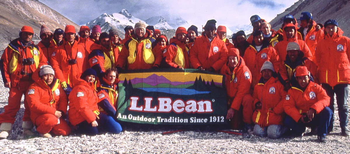 Members of the Everest Peace Climb hold an L.L.Bean flag.