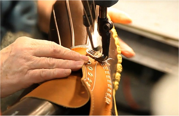 L.L.Bean Boots being stitched.