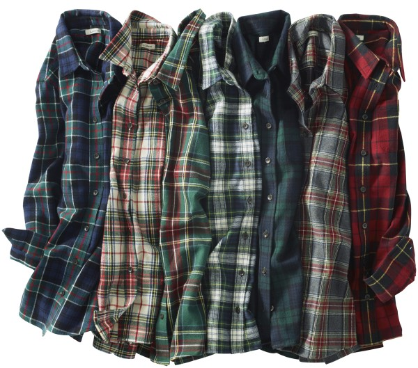 A display of several flannel shirts.