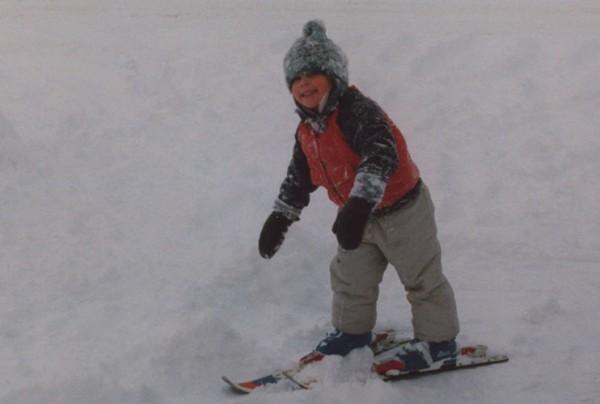 A young Kikkan Randall, skiing in her driveway in 1985.