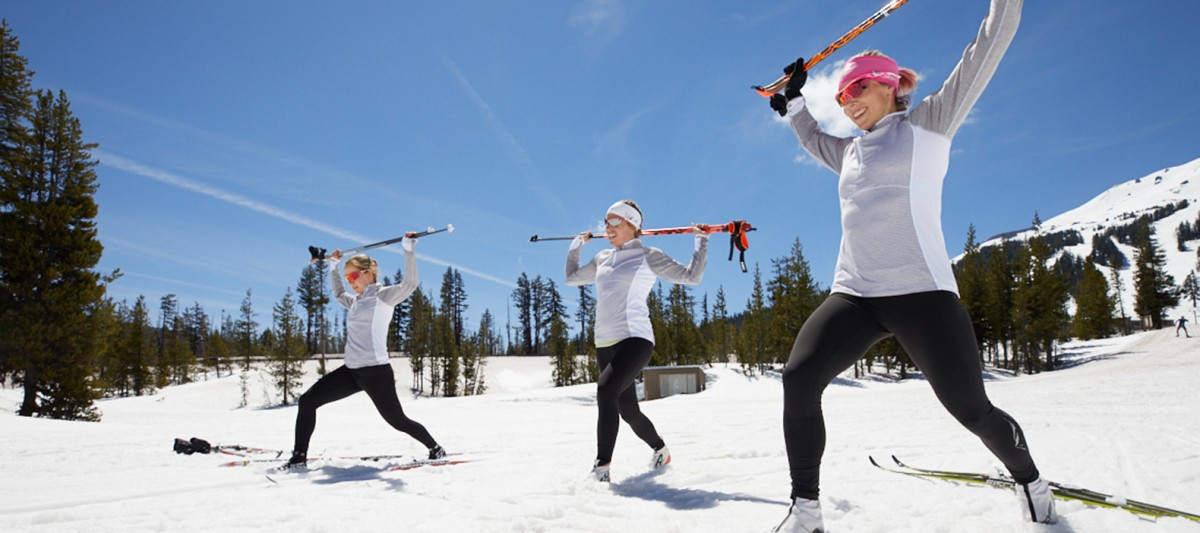 The U.S. Ski Team training in the snow.