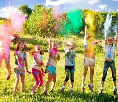 Little Bellas participating in a color run.