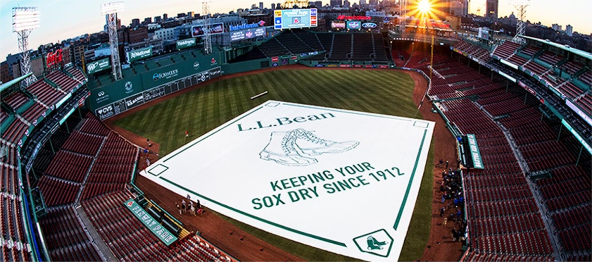 L.L.Bean tarp on the field at Fenway Park.