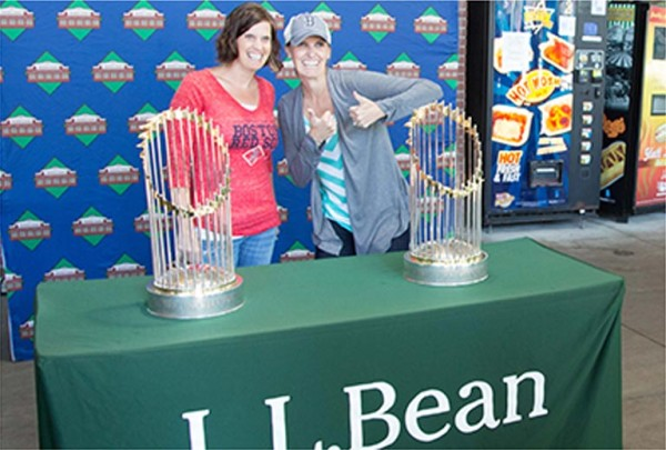 Fans checking out World Championship trophies at the Play Day at Fenway Park event.