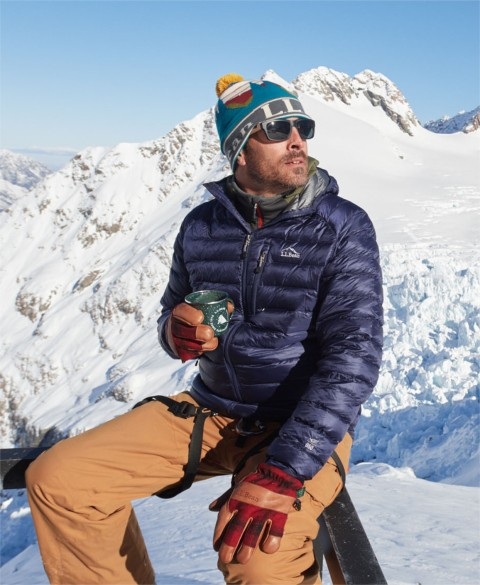 Dressed in L.L.Bean outerwear, Seth Wescott relaxes on the mountain between snowboard runs.