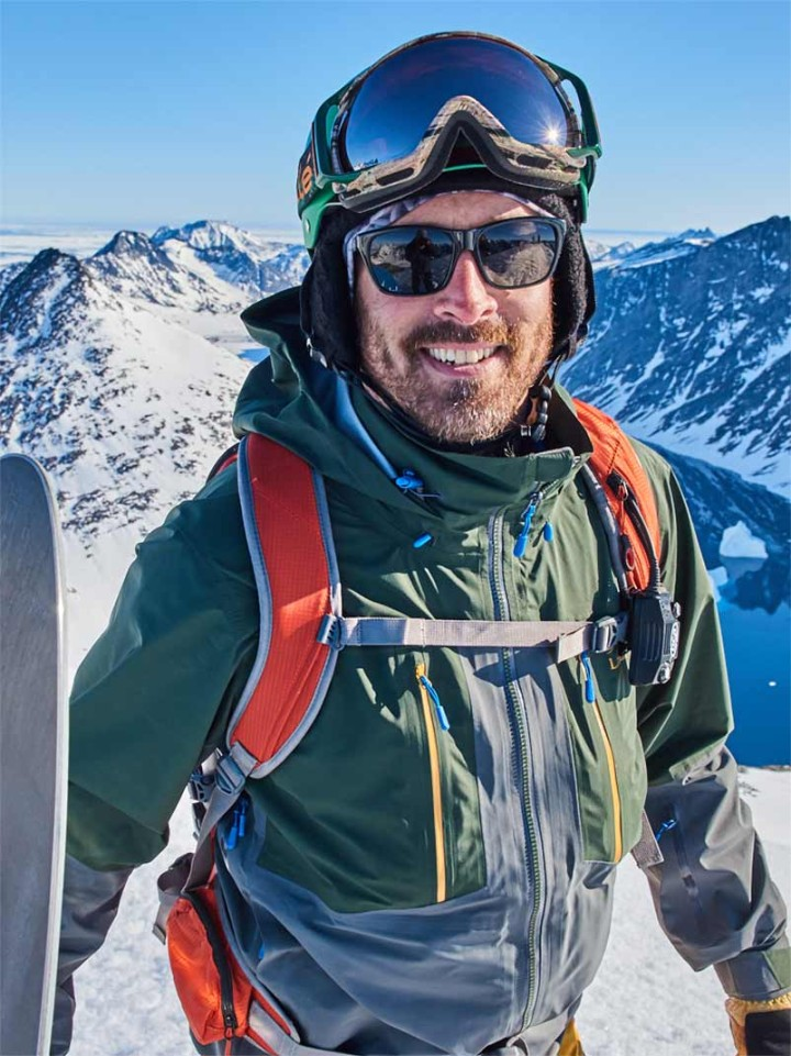 Seth Wescott geared up in L.L.Bean outerwear at the top of a mountain.