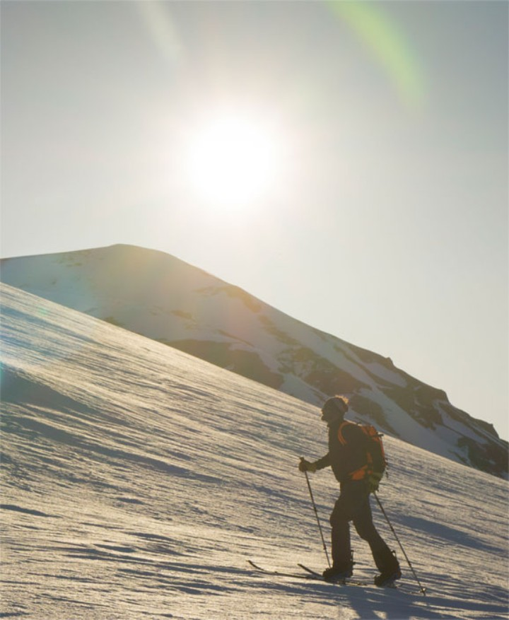 Seth takes a midnight-sun ski run in Greenland.