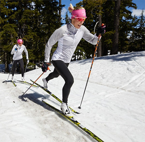 U.S. Ski Team member Kikkan Randall training outdoors.
