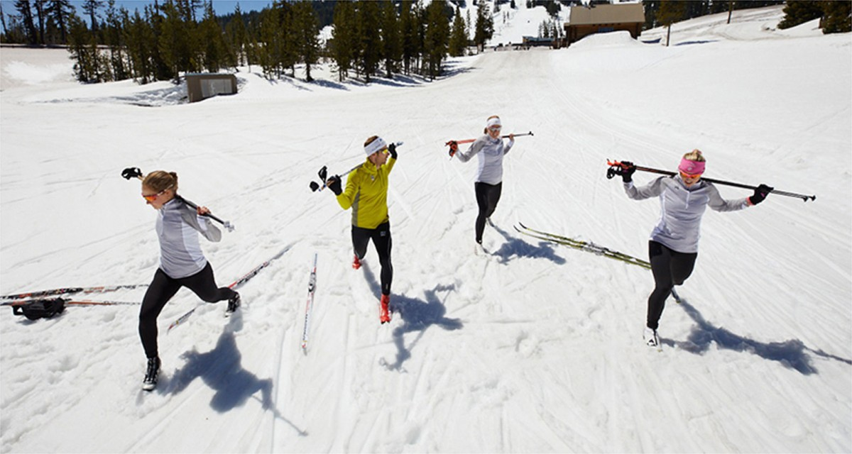Members of the U.S. Ski Team taking a stretch break.