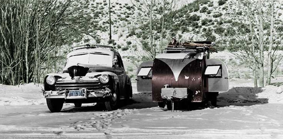 Warren Miller's coupe and camper.