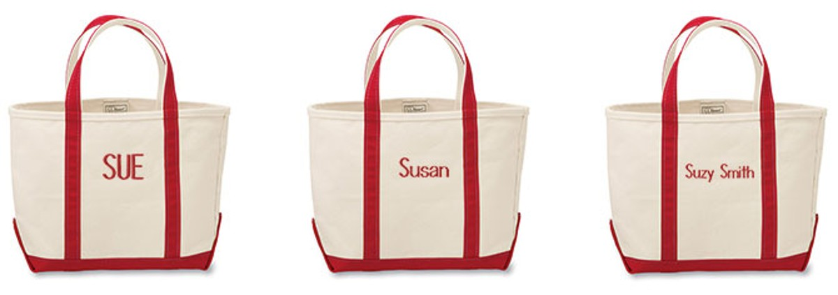 Image With Examples Of Monograms On Boat And Tote Bags