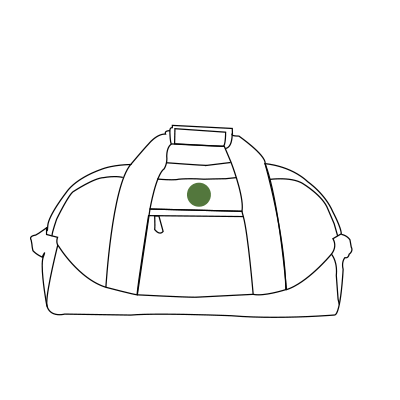 Image of monogram placement on Duffle Bags.