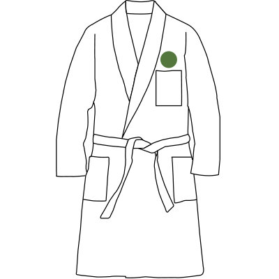 Image of monogram placement on Robes.