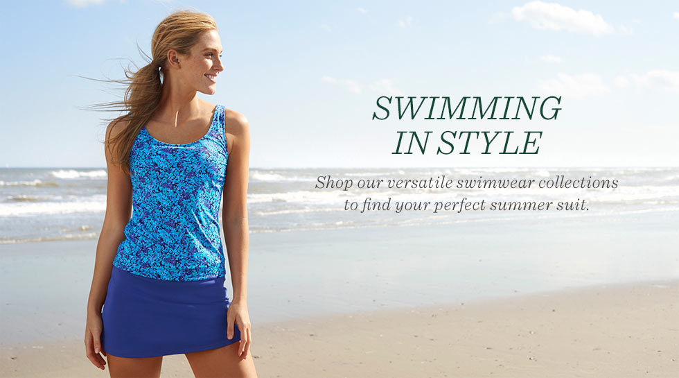 Swimming in style. Shop our versatile swimwear collections to find your perfect summer suit.