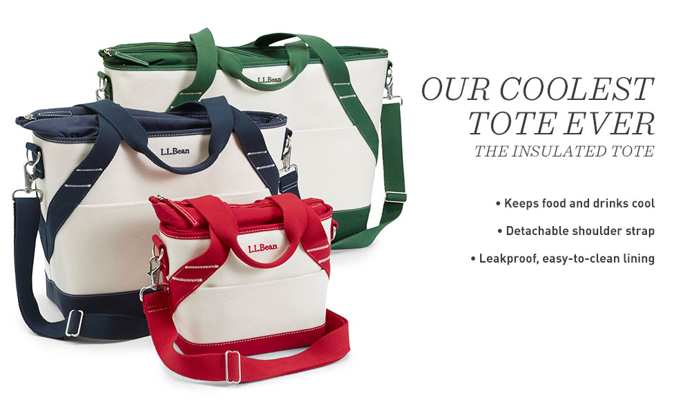 Insulated Boat and Tote keeps food and drinks cool. Detachable shoulder strap. Leakproof, easy-to-clean lining.