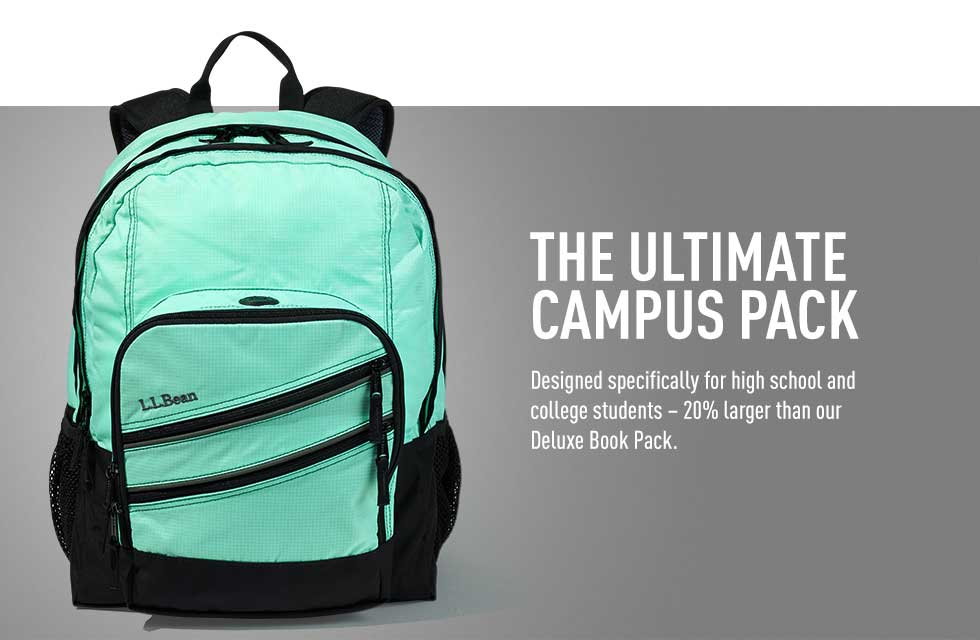 The ultimate campus pack. Designed specifically for high school and college students – 20% larger than our Deluxe Book Pack.
