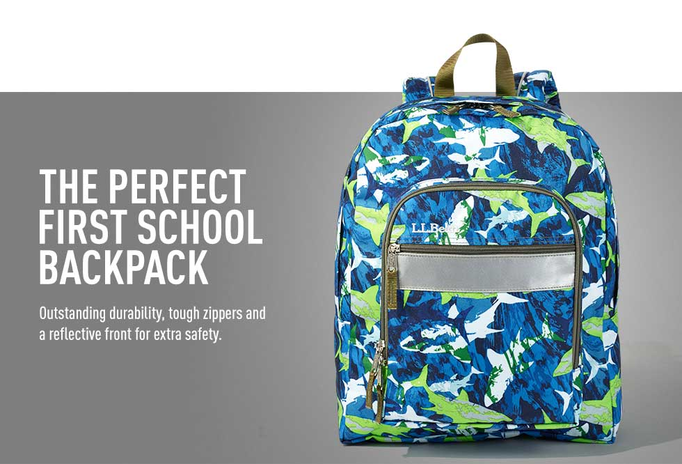 The perfect first school backpack. Outstanding durability, tough zippers and a reflective front for extra safety.