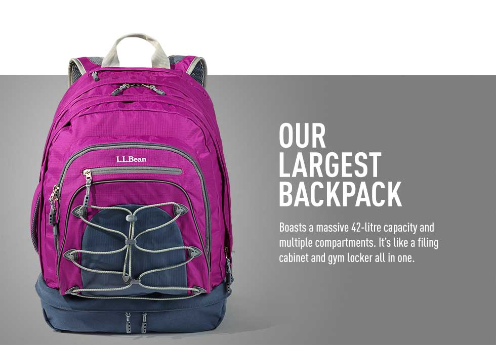 Our largest backpack – 42-litre capacity and multiple compartments. It's like a filing cabinet and gym locker all in one.