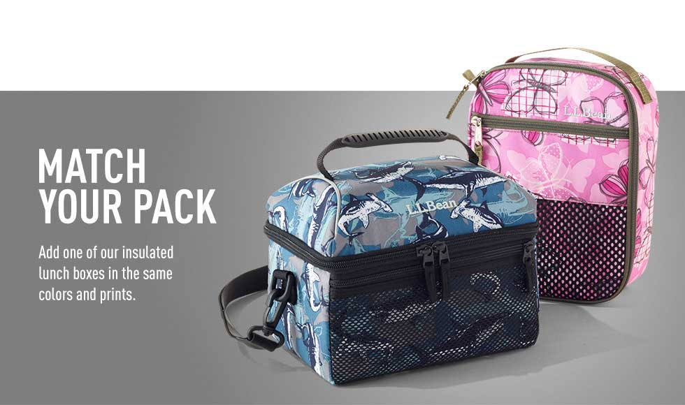 Match your pack. Add one of our insulated lunch boxes in the same colors and prints.