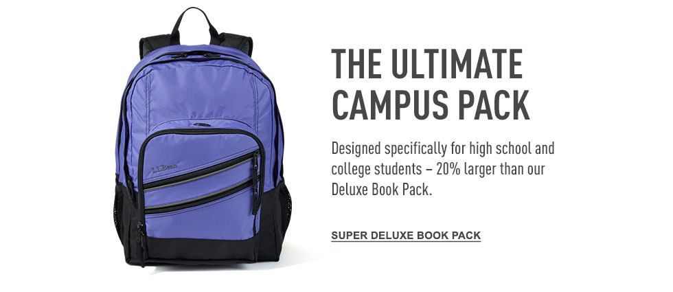 The ultimate campus pack. Designed specifically for high school and college students. 20% larger than our Deluxe Book Pack.