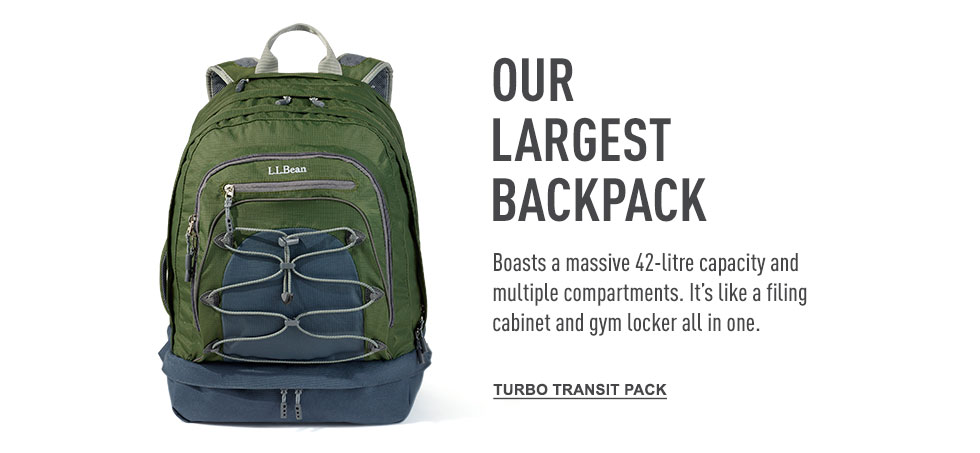 Our largest backpack. Boasts a massive 42-litre capacity and multiple compartments.
