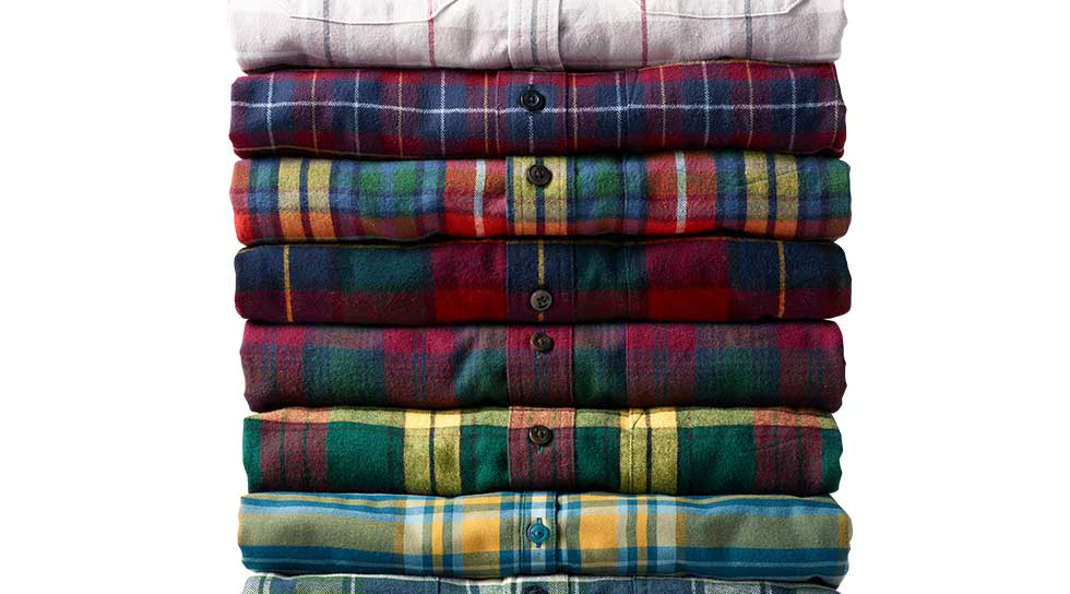 Stack of flannel shirts