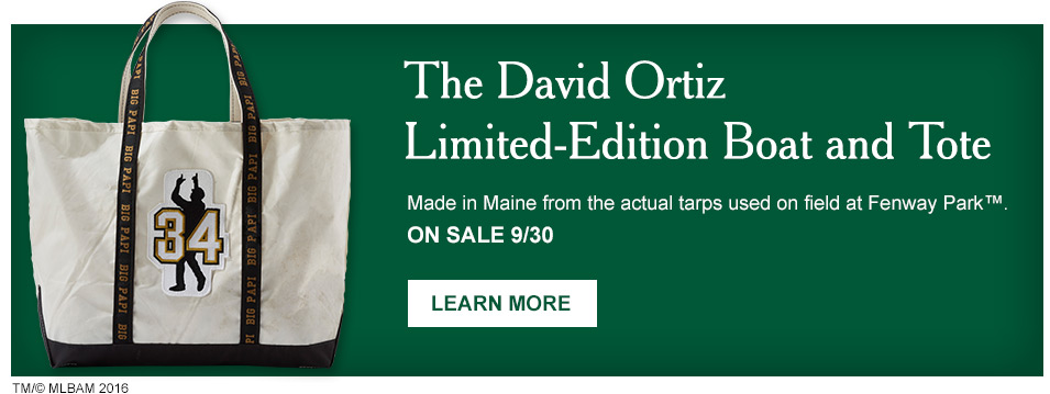 The David Ortiz Limited-Edition Boat and Tote. Made in Maine from actual Fenway Park tarps. On sale 9/30.