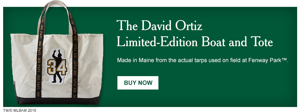 The David Ortiz Limited-Edition Boat and Tote. Made in Maine from actual Fenway Park tarps.