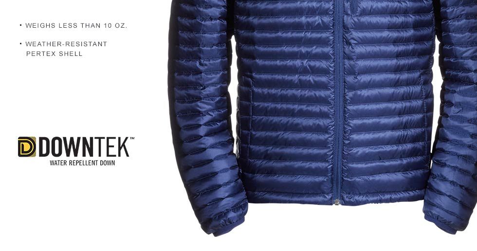 Ultralight, water-repellent DownTek performs in any weather. Weighs less than 10 oz. Weather-resistant Pertex shell.