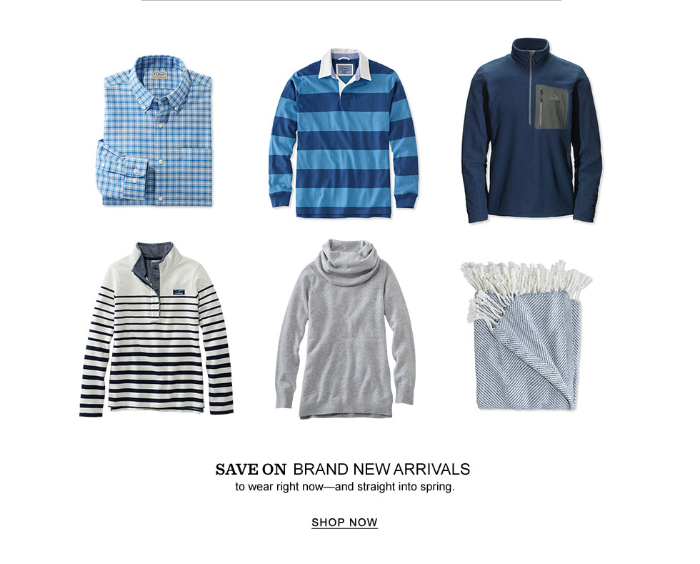 Image of various new arrivals including men's and women's shirts.