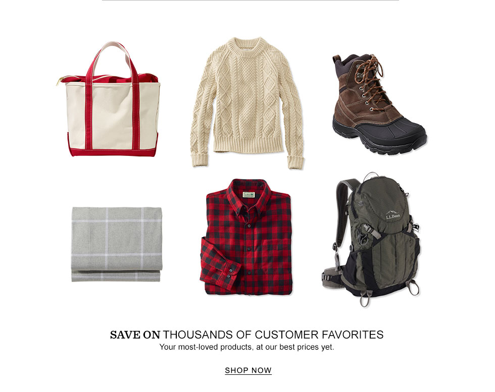 image of various customer favorite products including packs, bedding, sweaters and footwear