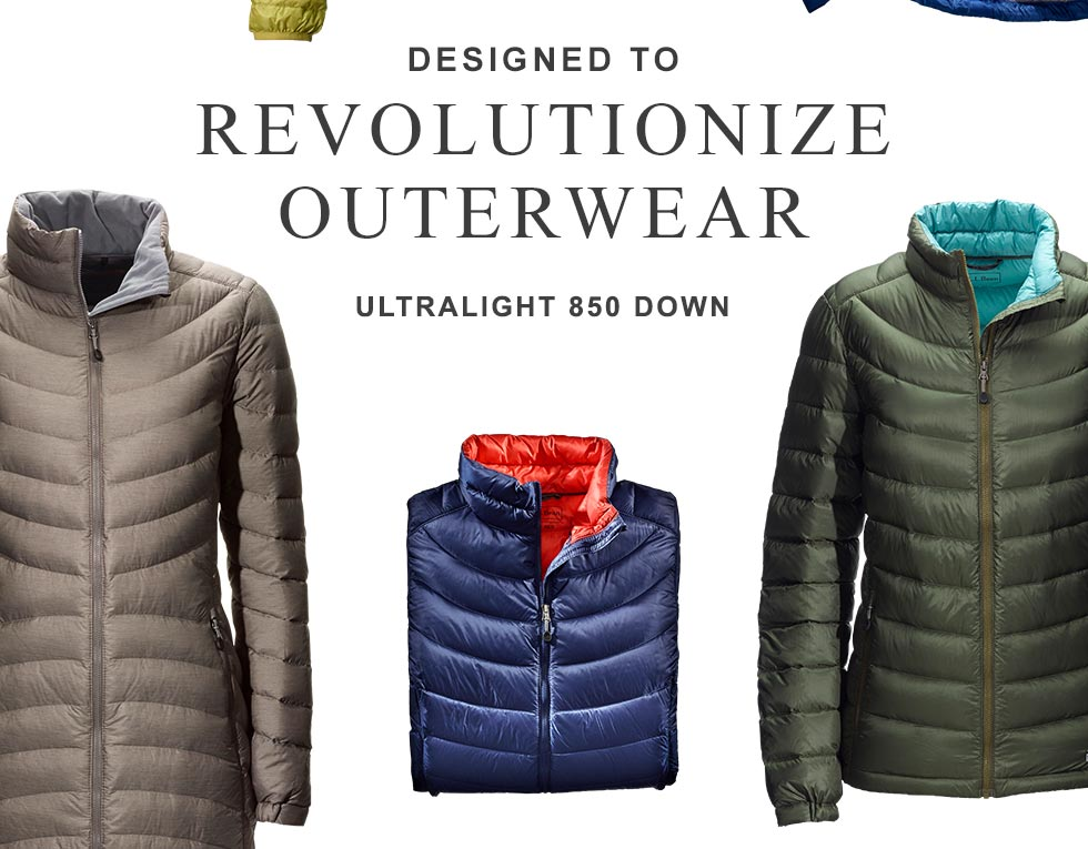 Designed to revolutionize outerwear. Ultralight 850 Down.