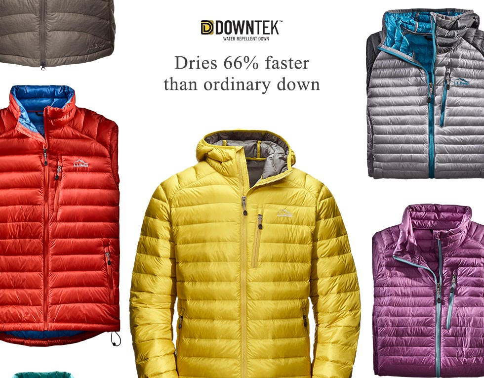 DownTek water-repellent down dries 66% faster than ordinary down.