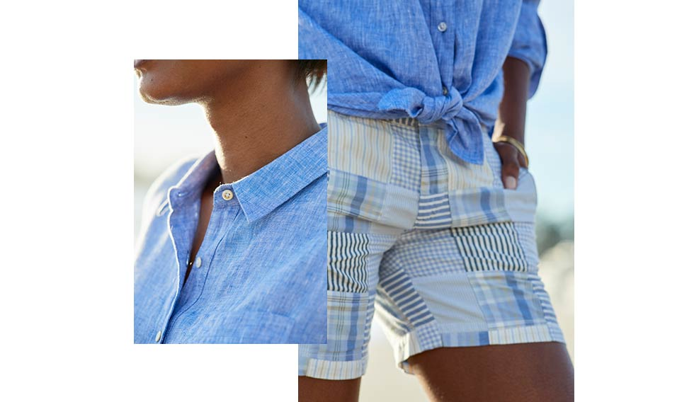 Close-ups of linen shirt features.
