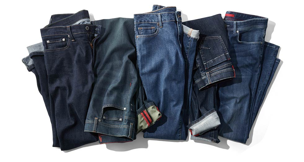 Several Styles of Jeans.