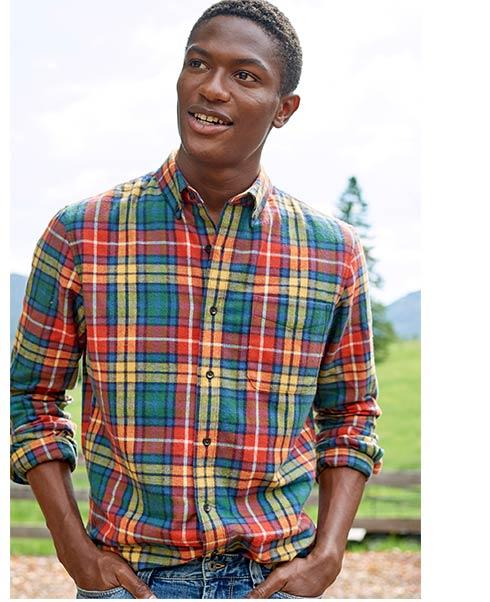 Man in Scotch Plaid Flannel Shirt.