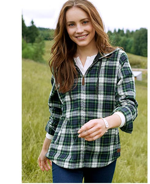Woman in Scotch Plaid Flannel.