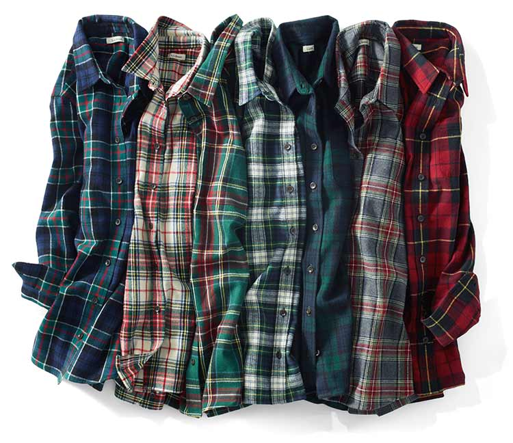 Several styles of L.L.Bean Flannel Shirts.