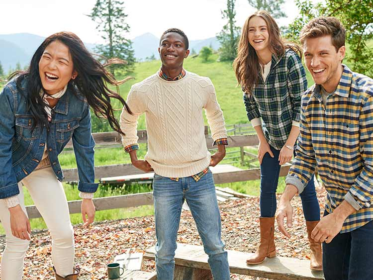 Friends outdoors having fun in L.L.Bean Flannel Shirts.