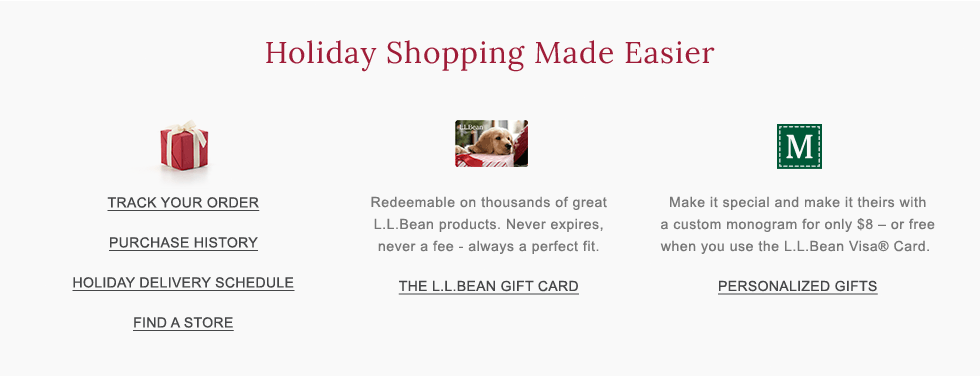 Holiday Shopping Made Easier. The L.L.Bean Gift Card. Custom monogrammming.