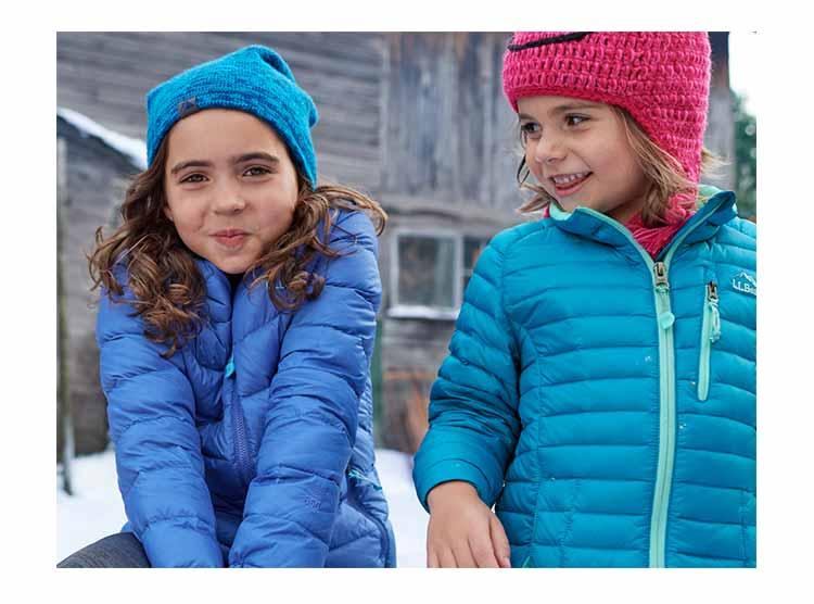 Kids in Ultralight Down Outerwear.