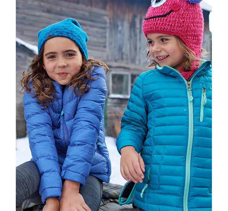 Two girls in L.L.Bean Outerwear having fun.