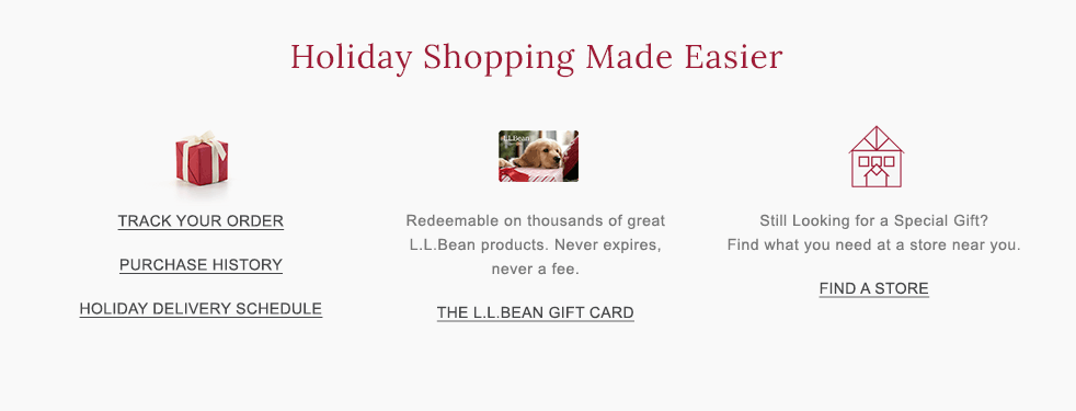 Holiday Shopping Made Easier. The L.L.Bean Gift Card. Personalized Gifts.