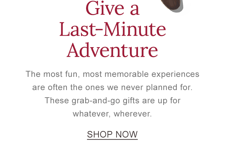 Give a Last-Minute Adventure. These grab-and-go gifts are up for whatever, wherever.