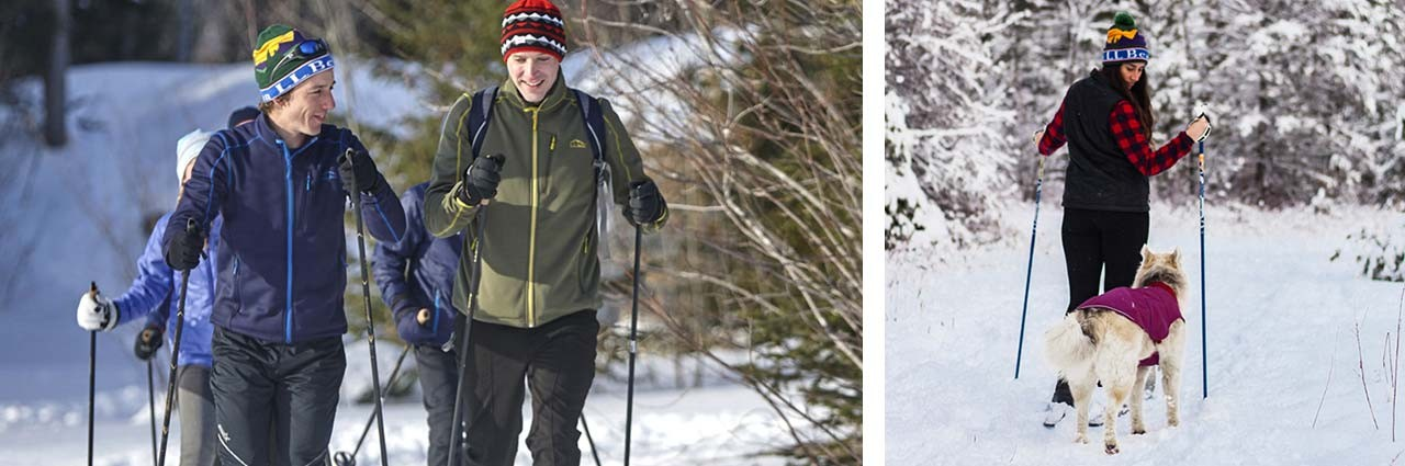Family cross-country skiing and woman cross-country skiing with dog.