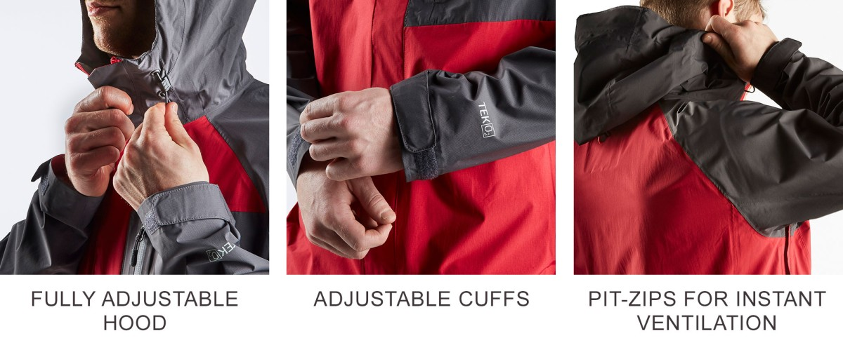 Fully Adjustable Hood, Adjustable Cuffs, Pit-Zips for Instant Ventilation.