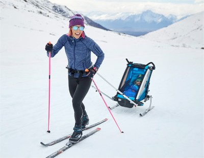 L.L.Bean Testing and Design Partner Kikkan Randall skiing with her baby Breck.