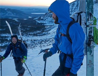 Backcountry skiers testing L.L.Bean jackets in Maine.