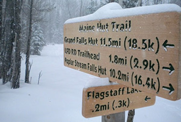 Maine Huts & Trails trail sign.